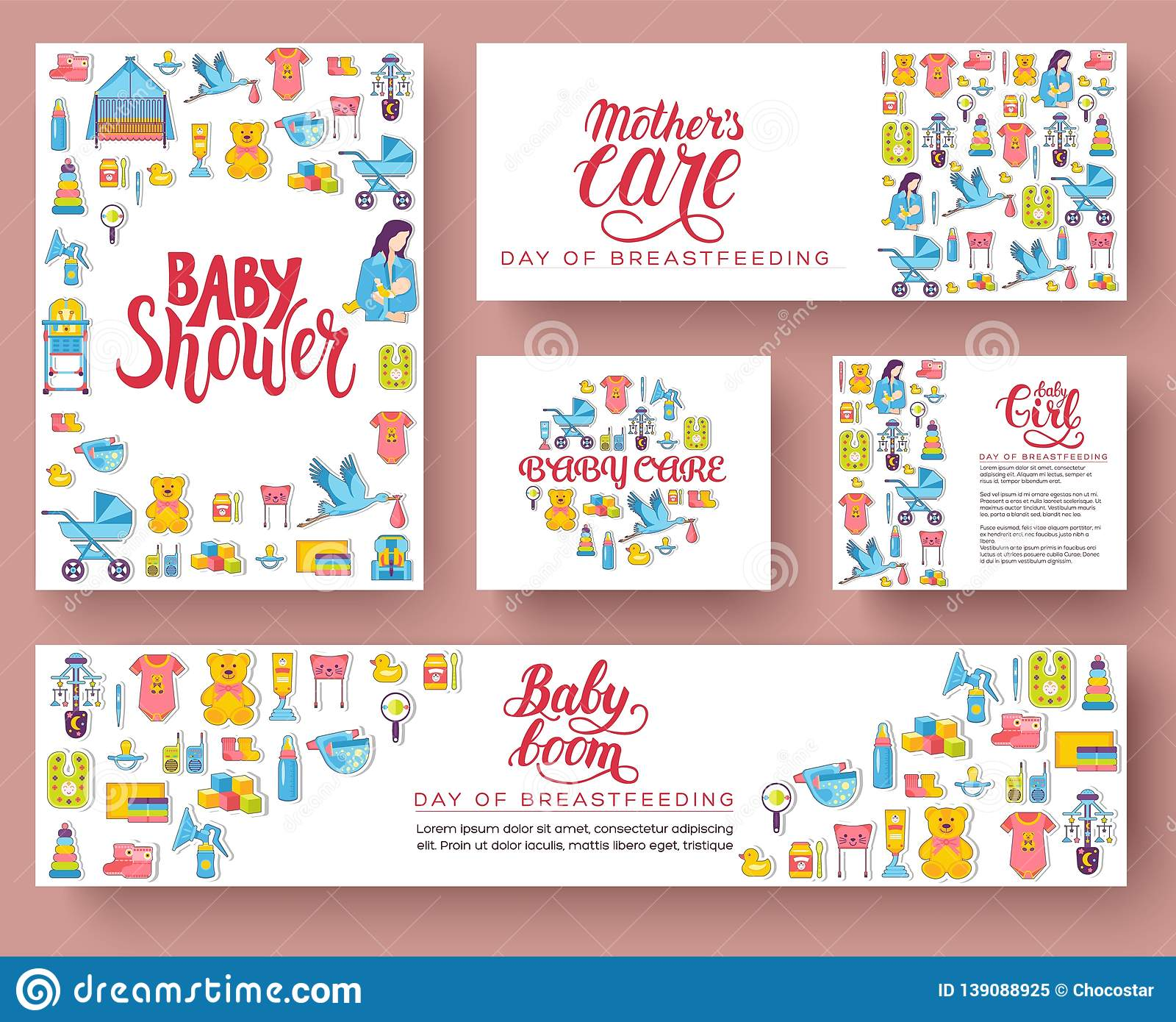 World Breastfeeding Week Cards Set Kids Elements Of Flyear Magazines Posters Book Cover Banners Devices Infographic Concept Stock Illustration Illustration Of Love Girl 139088925