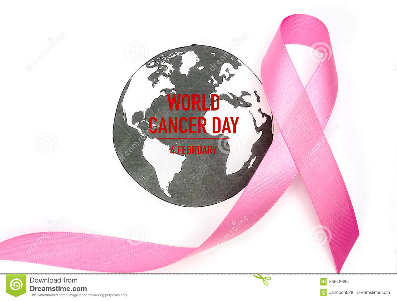 World cancer day : Breast Cancer Awareness Ribbon on world map .