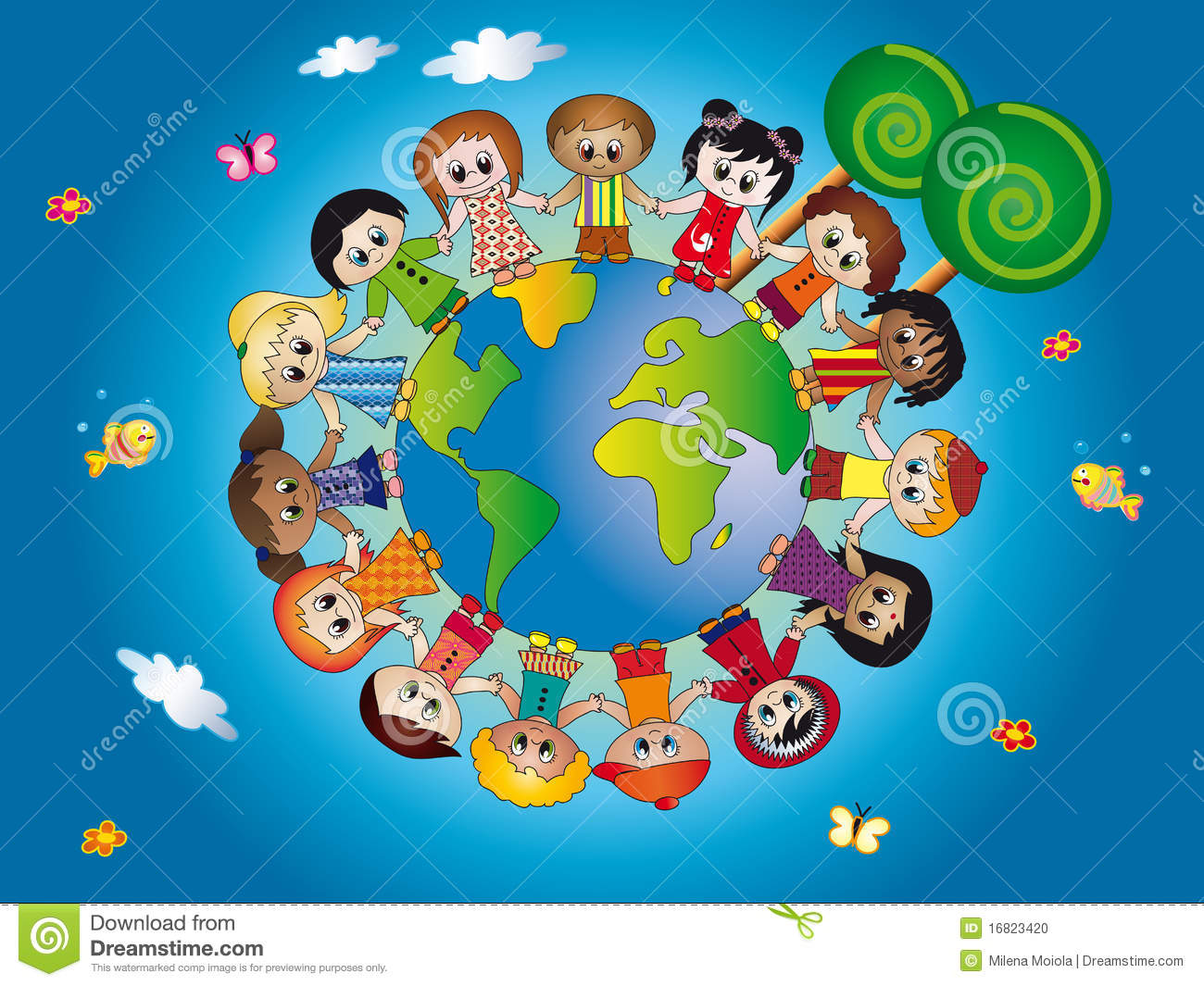 Illustration of children join hands around the world in blue ...