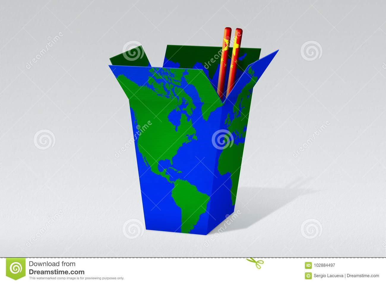 World Chinese Takeaway Box Stock Illustration Illustration Of