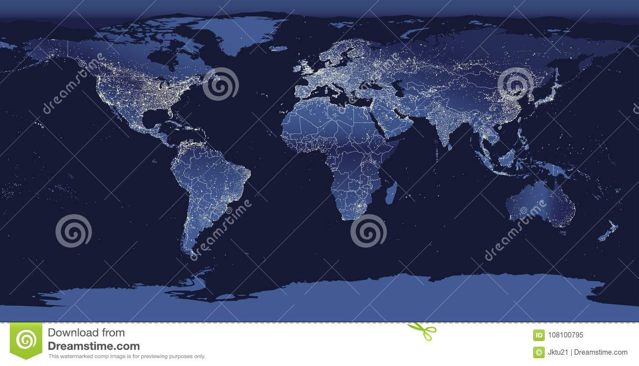 World city lights map night earth view from space vector world city lights map night earth view from space vector illustration gumiabroncs Gallery