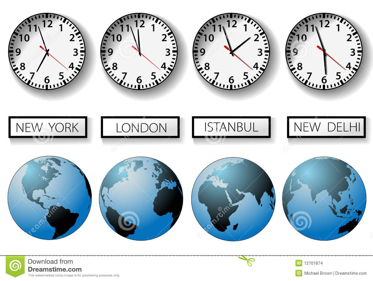 Four clocks and globes for world time zones with city name signs.
