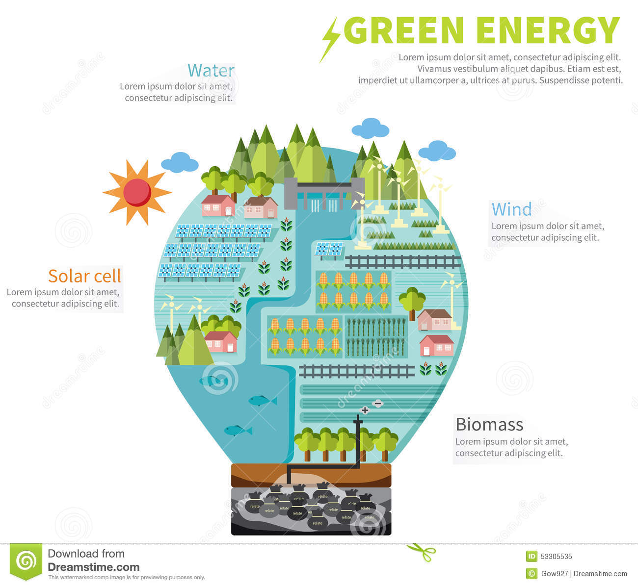 The World Of Clean Energy Infographic Template Design In Light Bulb