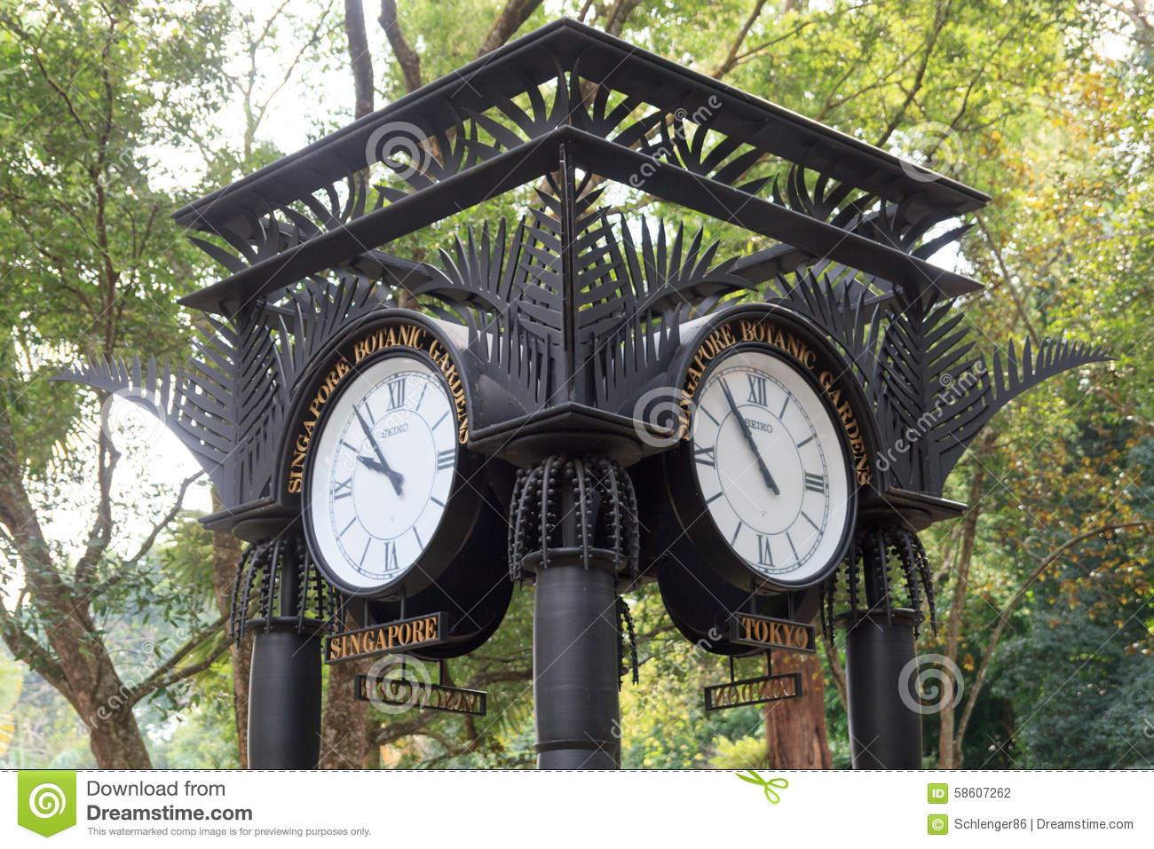 World Clock Near Orchid Garden In Singapore Botanic Gardens Stock Photo Image 58607262