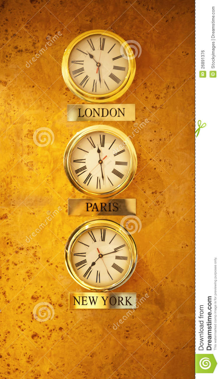 World clock at the reception wall stock photo image 26891376 world clock at the reception wall amipublicfo Choice Image