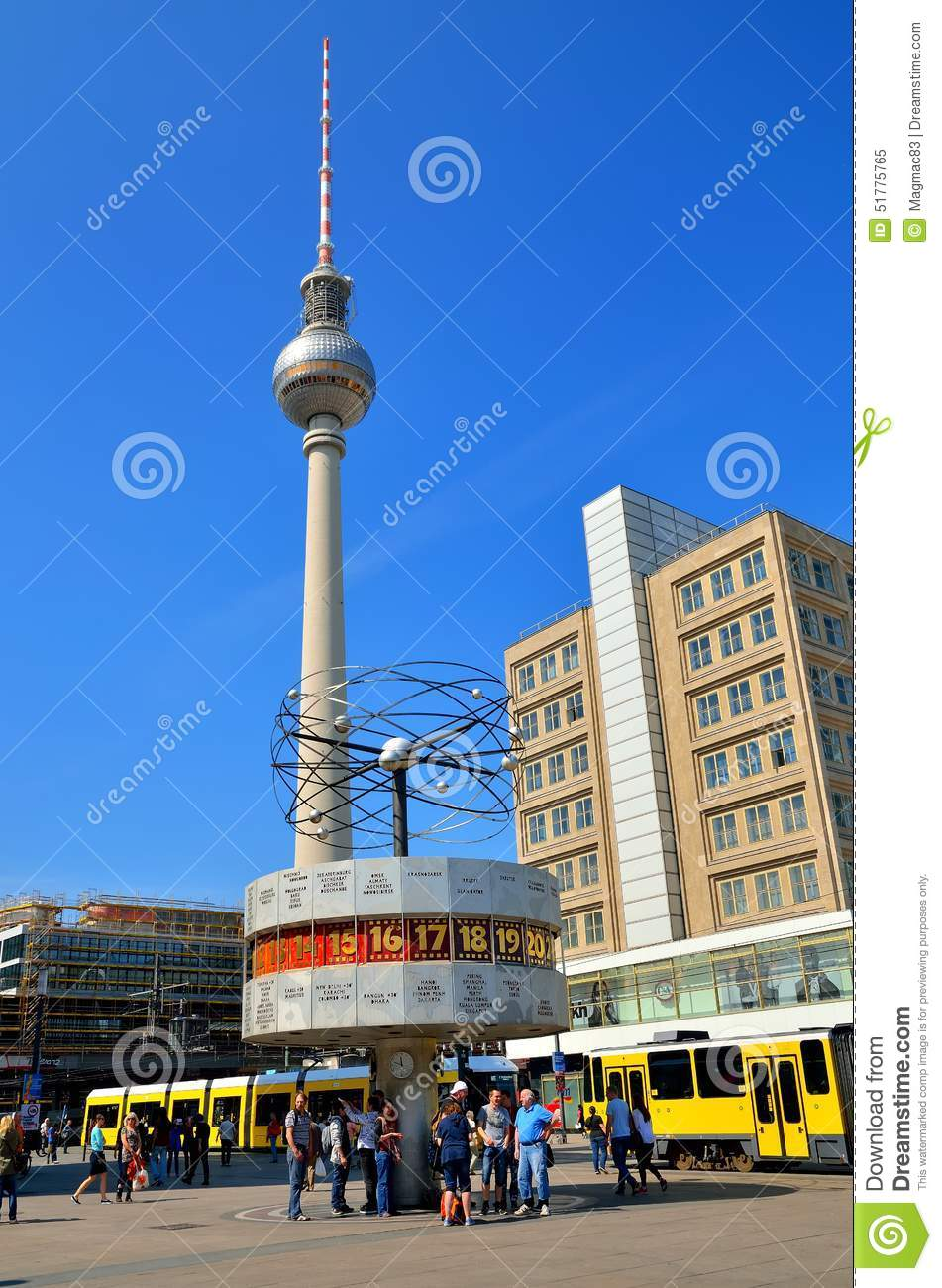 The World Clock And Tv Tower In Berlin Germany Editorial