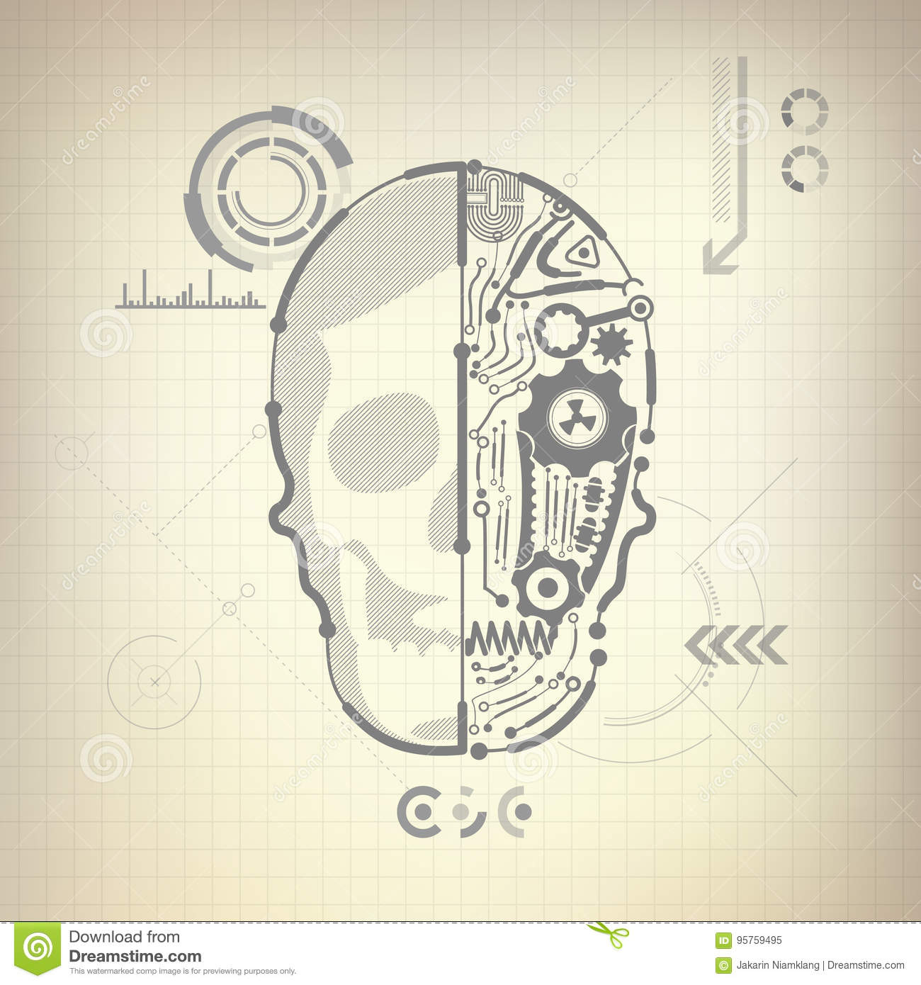 Cyborg Diagram Invention Nice Place To Get Wiring Ozonegeneratorcircuitdiagram World Stock Vector Illustration Of Human Head 95759495 Rh Dreamstime Com Cotton Inventor