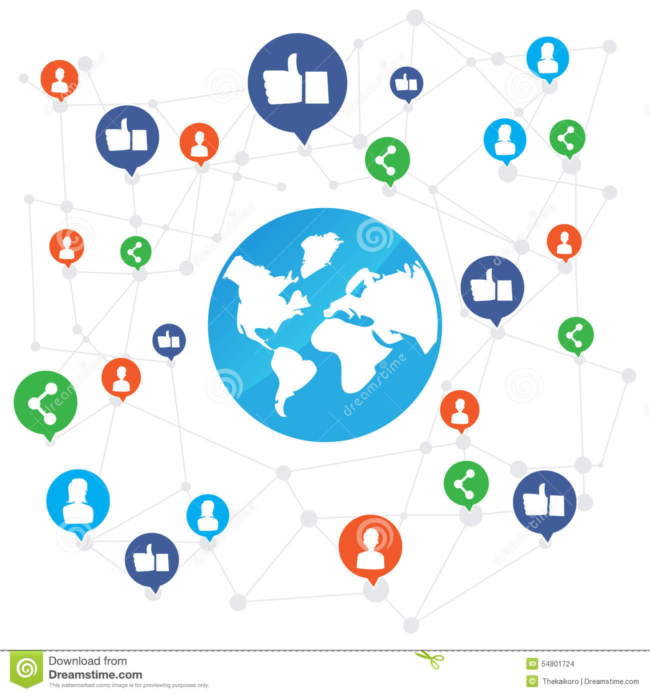 World Connection With Like And Share Icon On White Background Ve Stock Vector Image 54801724