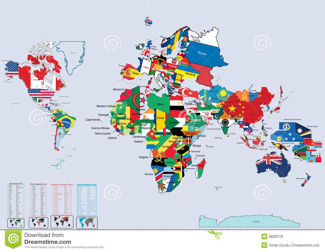 World Country Flags And Map Stock Vector Illustration Of America - Map of the world with countries