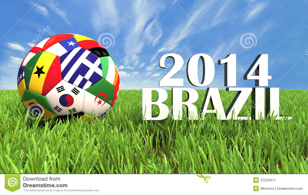 fa519d6338a 3D soccer balls with flags on world football cup 2014. Palaced on 3d grass.  Background isolated with clipping path.