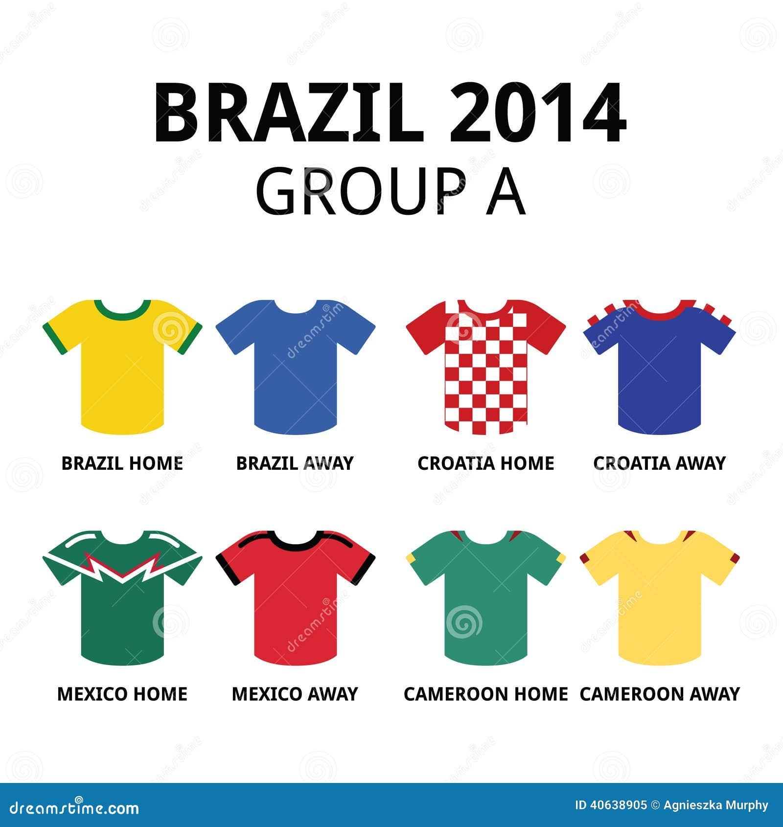 buy online 775e9 c79cd World Cup Brazil 2014 - Group A Teams Football Jerseys ...