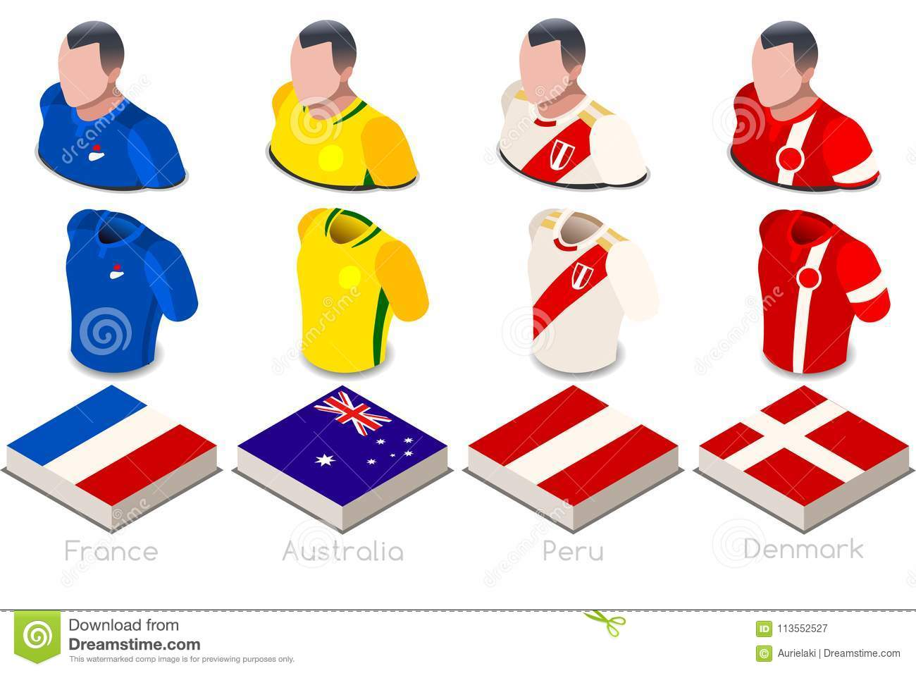 d8b3076c704 Russia 2018 soccer world cup group c of players with team shirts jersey  flags. Referee Russia soccer 2018 championship football vector illustration.
