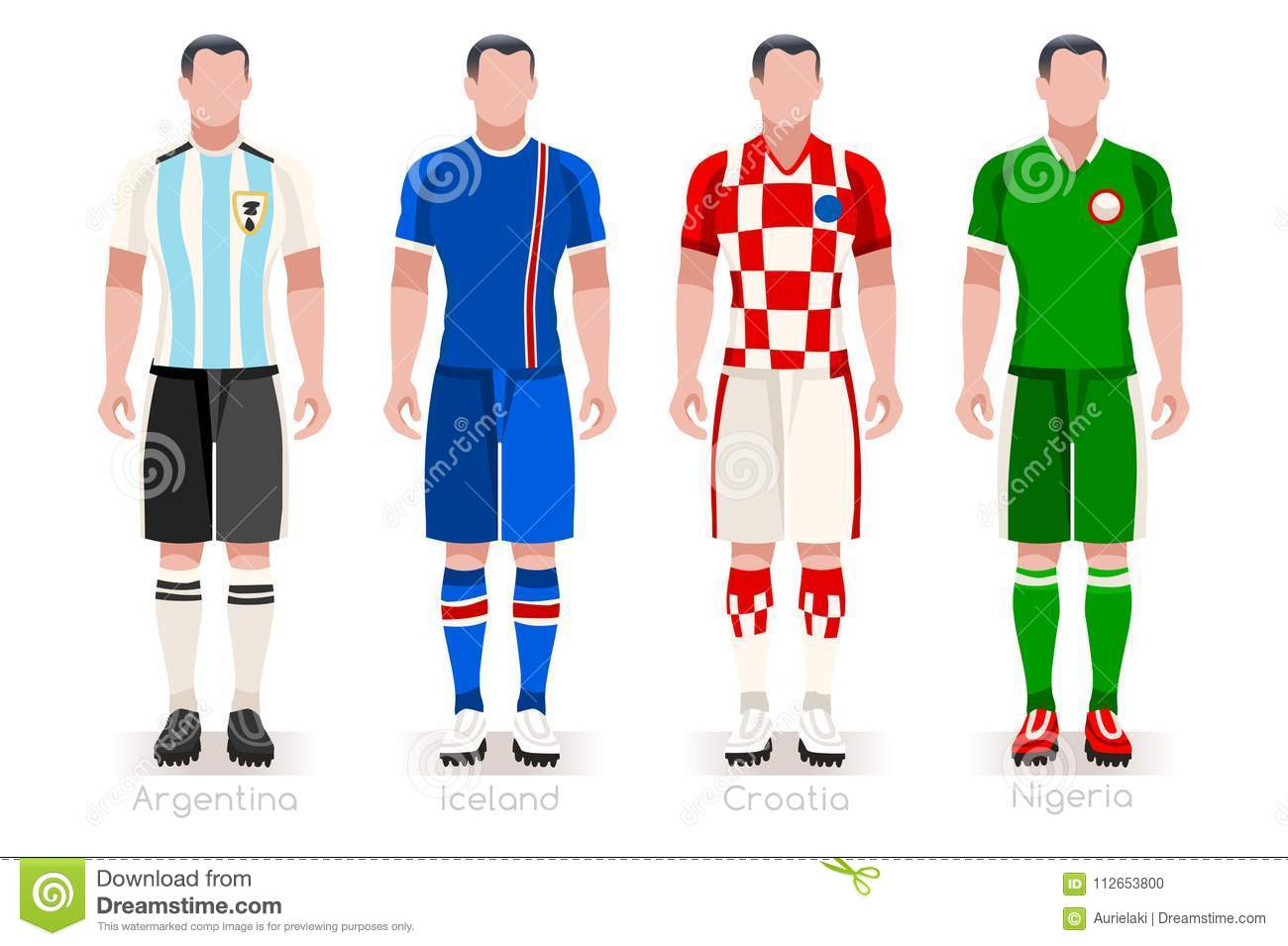 79cc0cdda50 Soccer world cup a group of players with team shirts flags and ball.  referee football vector illustration.