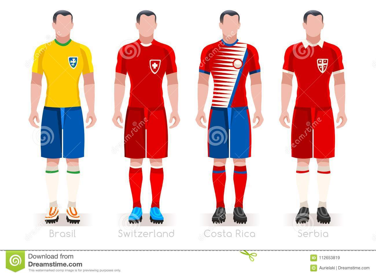 5ce5091f0a0 Soccer world cup a group of players with team shirts flags and ball.  referee football vector illustration. More similar stock illustrations