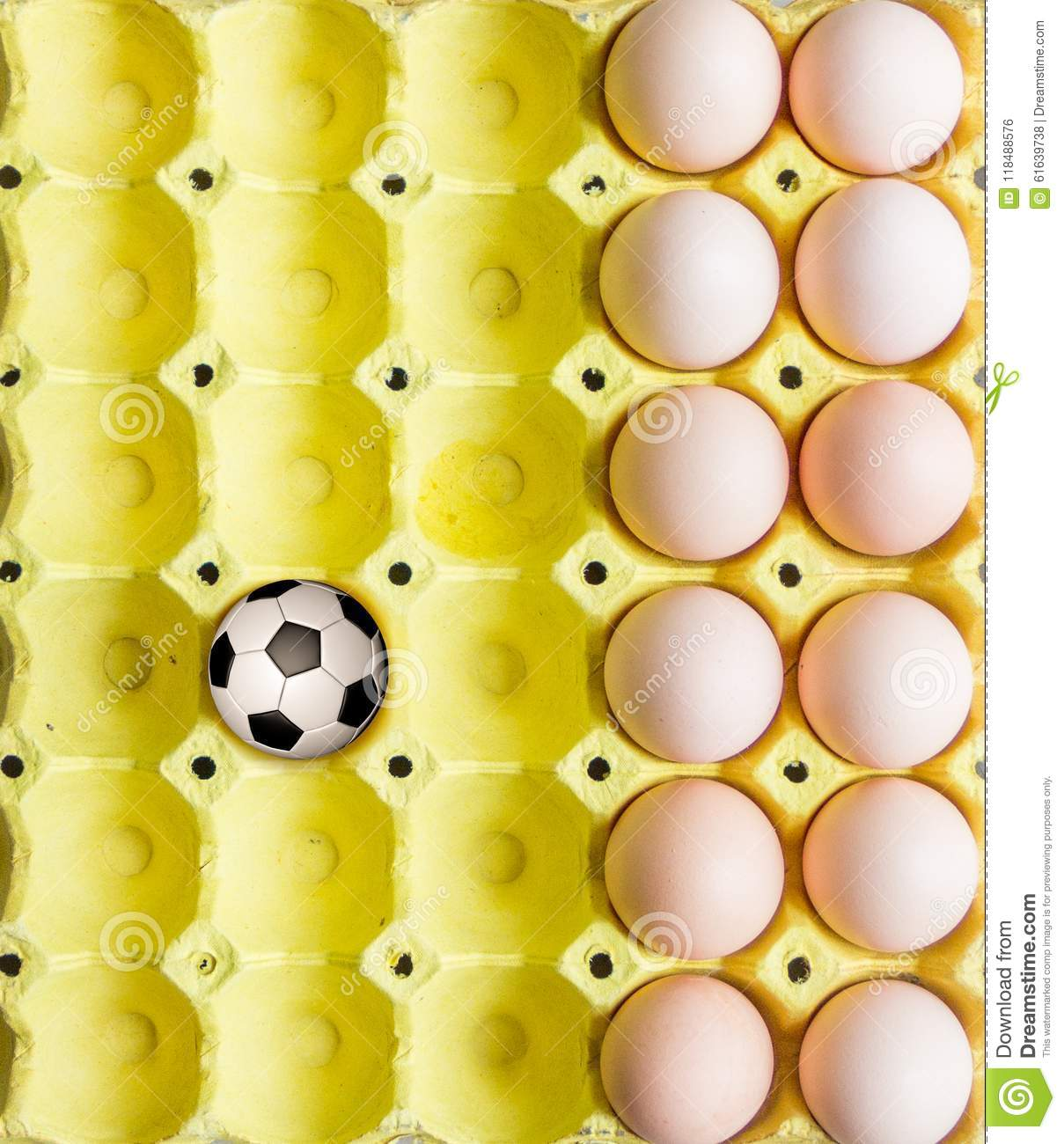 Football in the egg tray