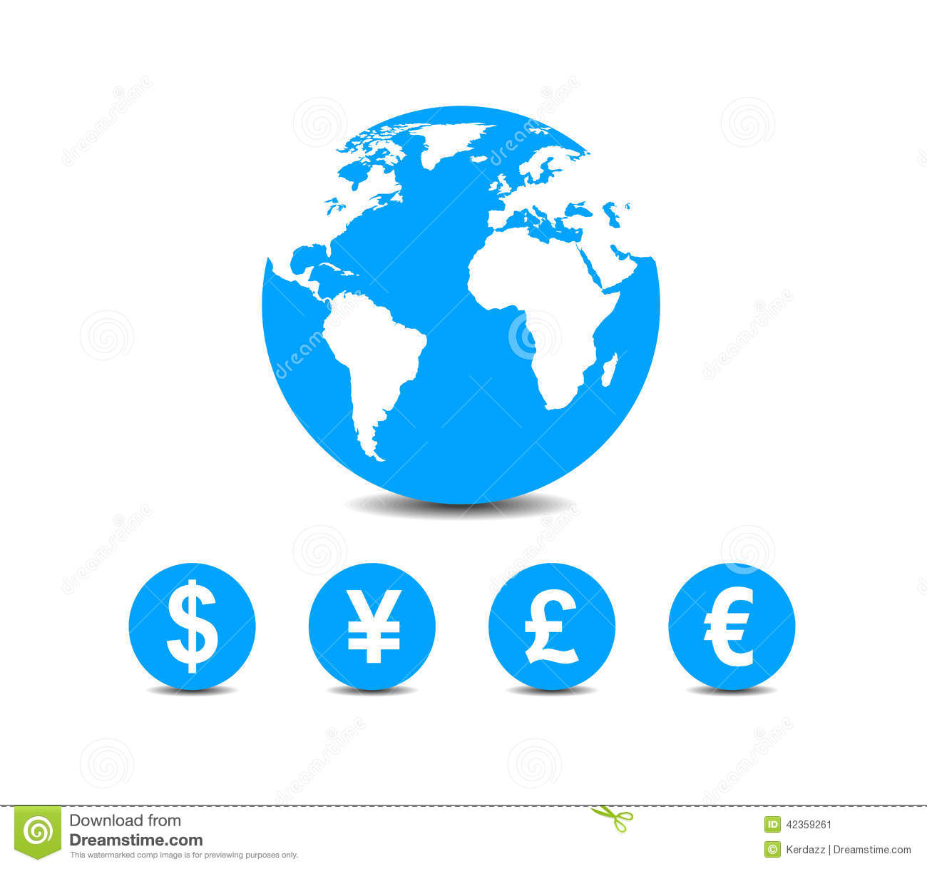 World: World Currencies Icons Stock Vector