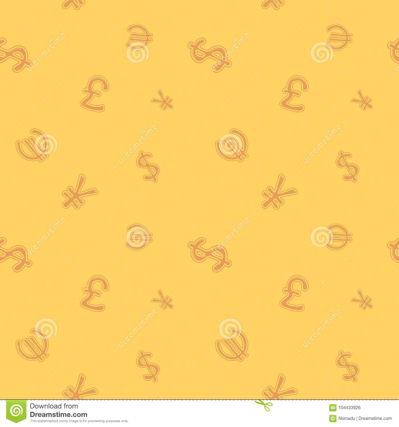 World Currency Money Symbol Seamless Pattern Stock Vector