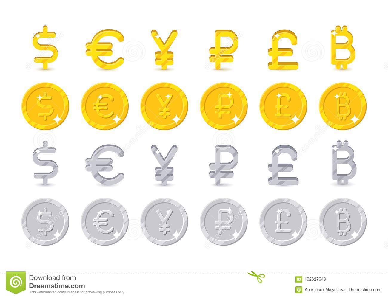 World Currency Signs And Coins Stock Vector Illustration Of