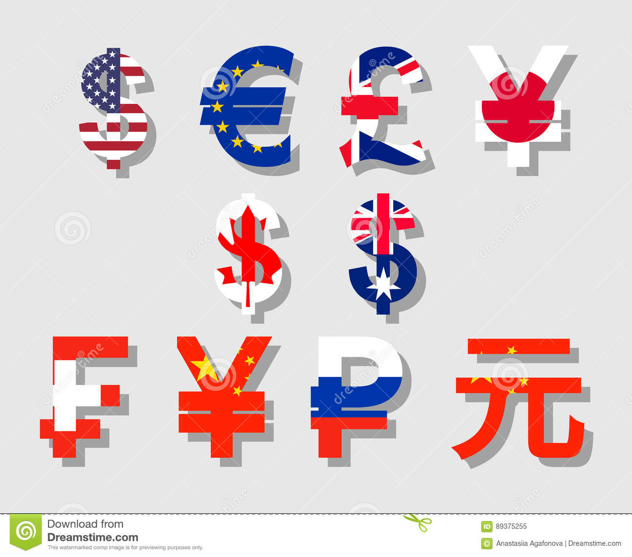 World Currency Signs Stock Vector Illustration Of Franc 89375255