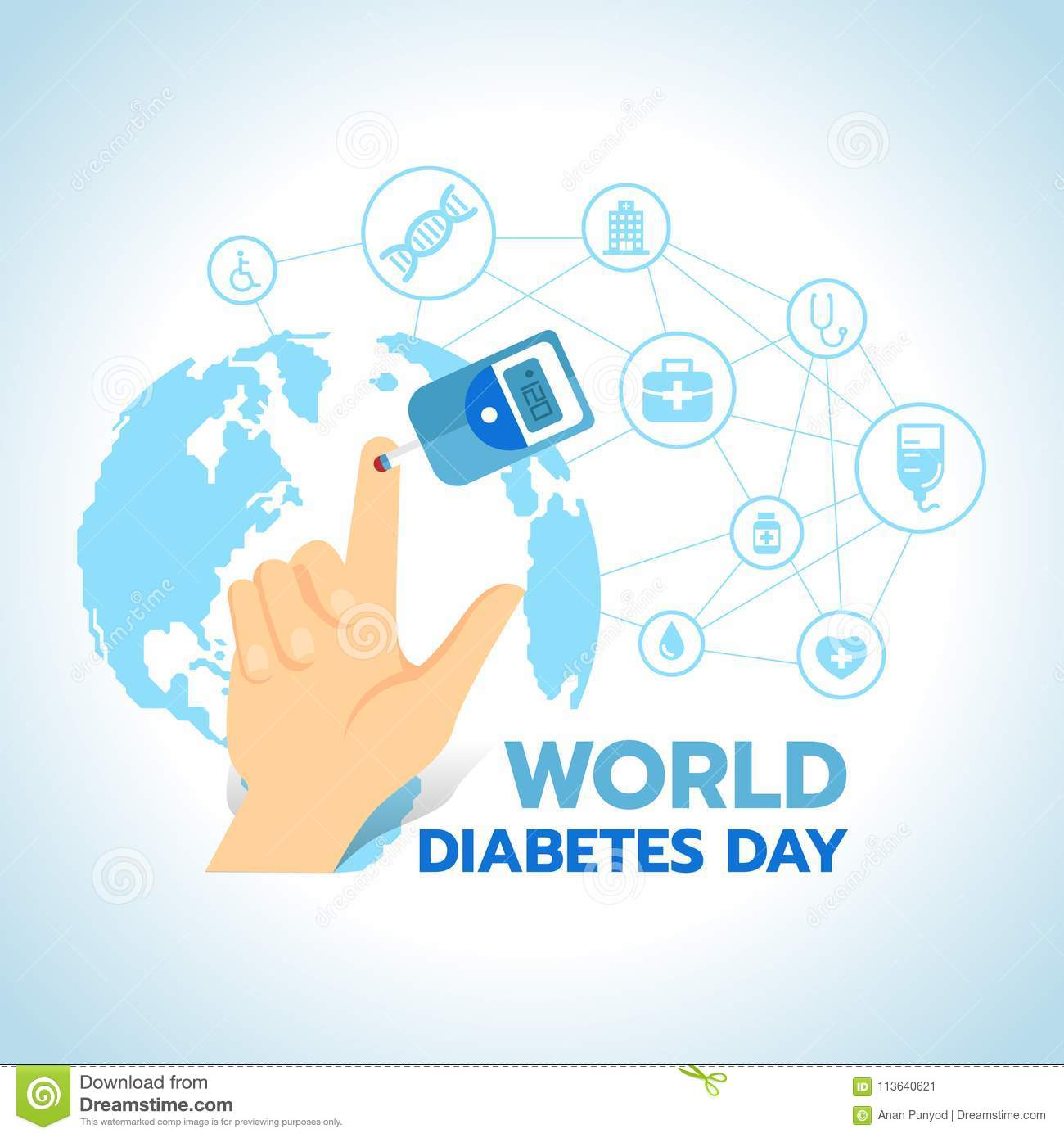 World diabetes day banner with blood sugar test and blood on the world diabetes day banner with blood sugar test and blood on the finger on blue world map with abstract connect link to medical icons sign vector design gumiabroncs Image collections