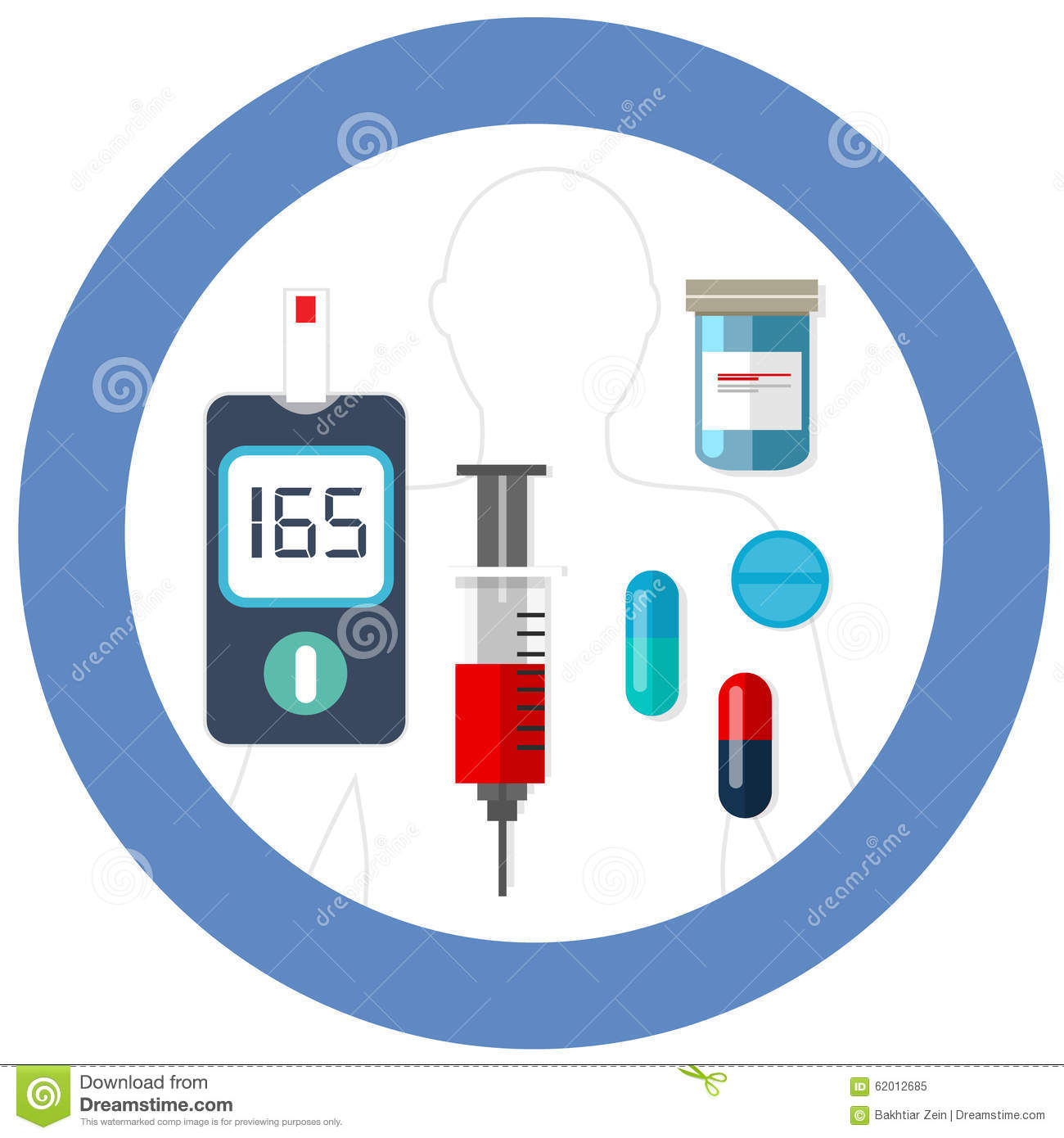 World Diabetes Day Blue Circle Symbol With Icon Vector