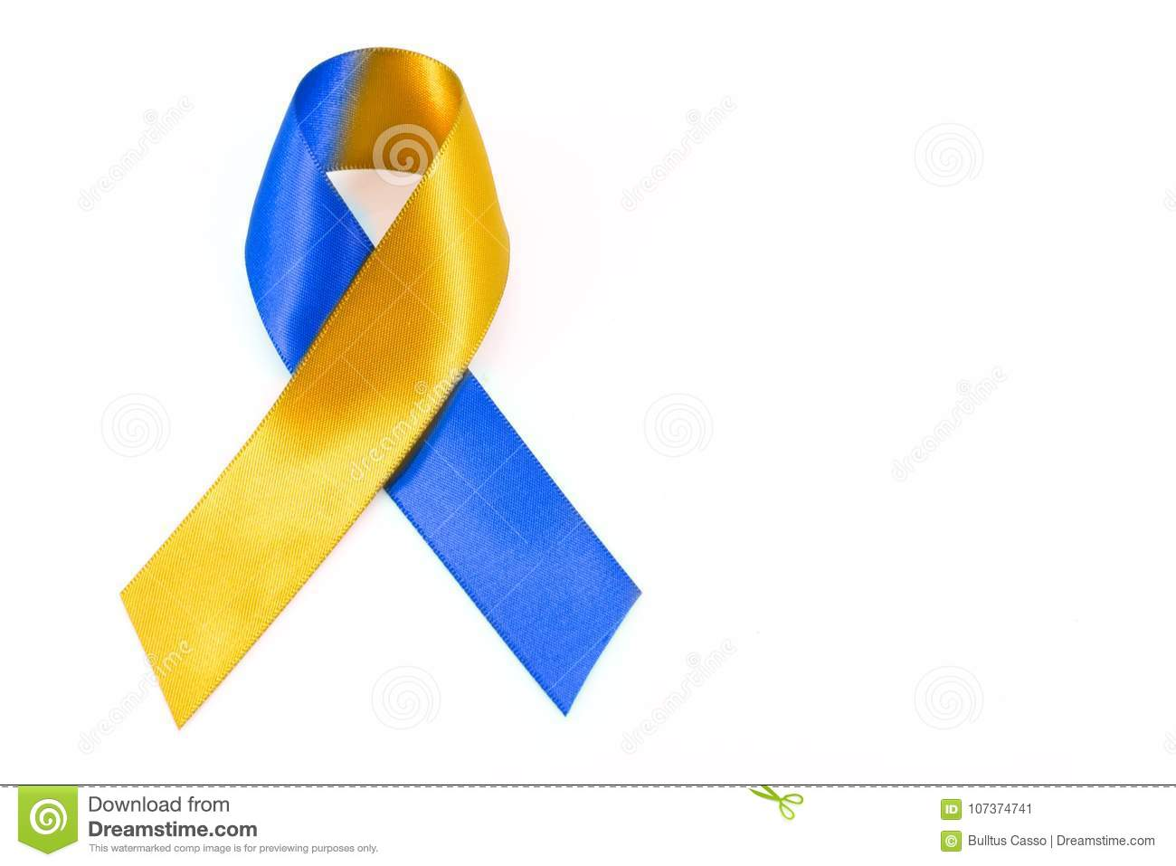 World Down Syndrome Day With Blue Yellow Awareness Stock
