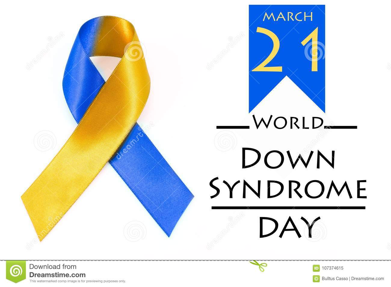 World Down Syndrome Day With Blue Yellow Awareness Ribbon Bow Stock