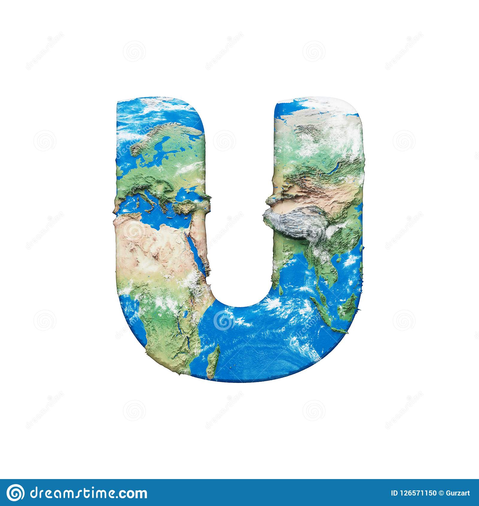 World Earth Globe Alphabet Letter U Uppercase Global Worldwide Font