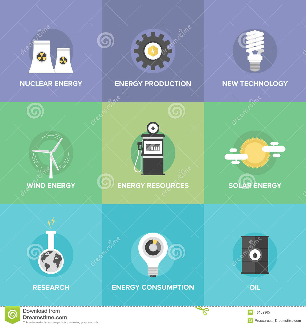 World Energy Resources Flat Icons Set Stock Vector