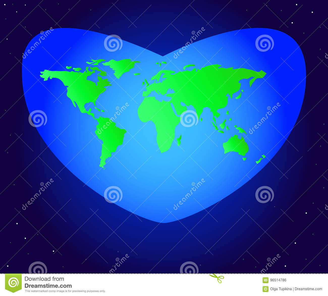 World Environment Day. Vector illustration of the mainland planet Earth green in a beautiful blue heart.