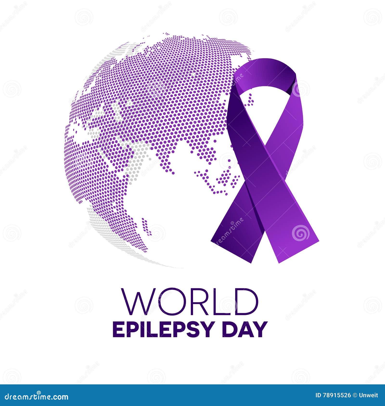 564e8791138 Purple ribbon made of dots on white background. World epilepsy solidarity  day. Purple epilepsy awareness ribbon. Isolated vector illustration.