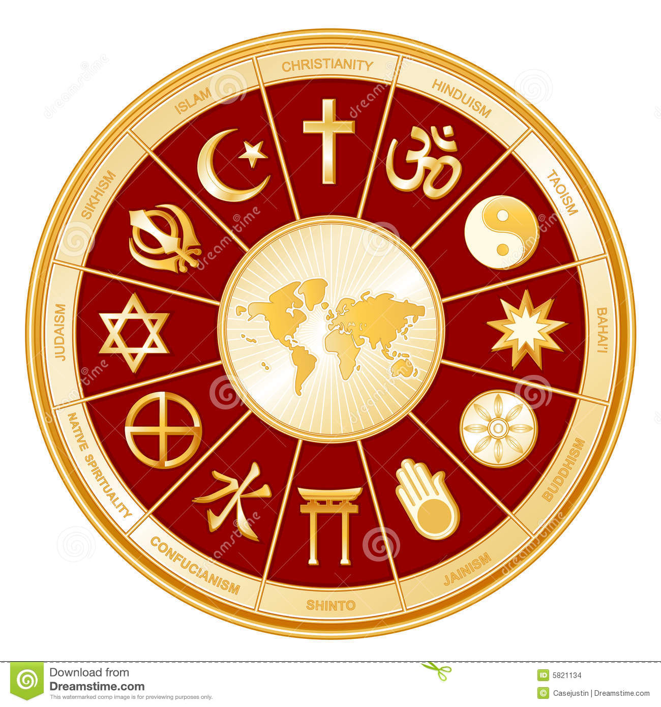 World Of Faith, Religions, Globe Map Stock Vector - Illustration of ...