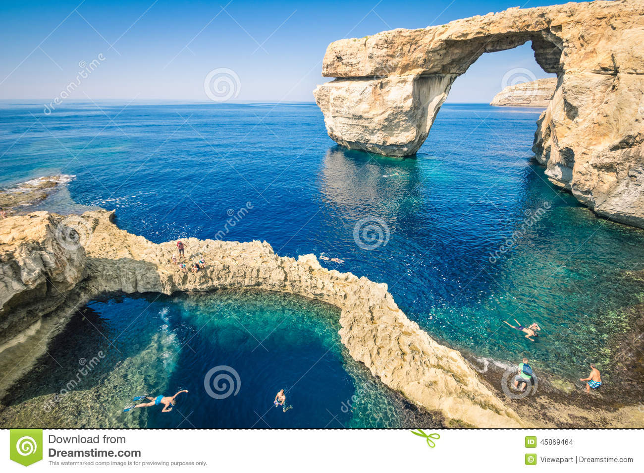 The world famous Azure Window in Gozo island - Mediterranean nature ...