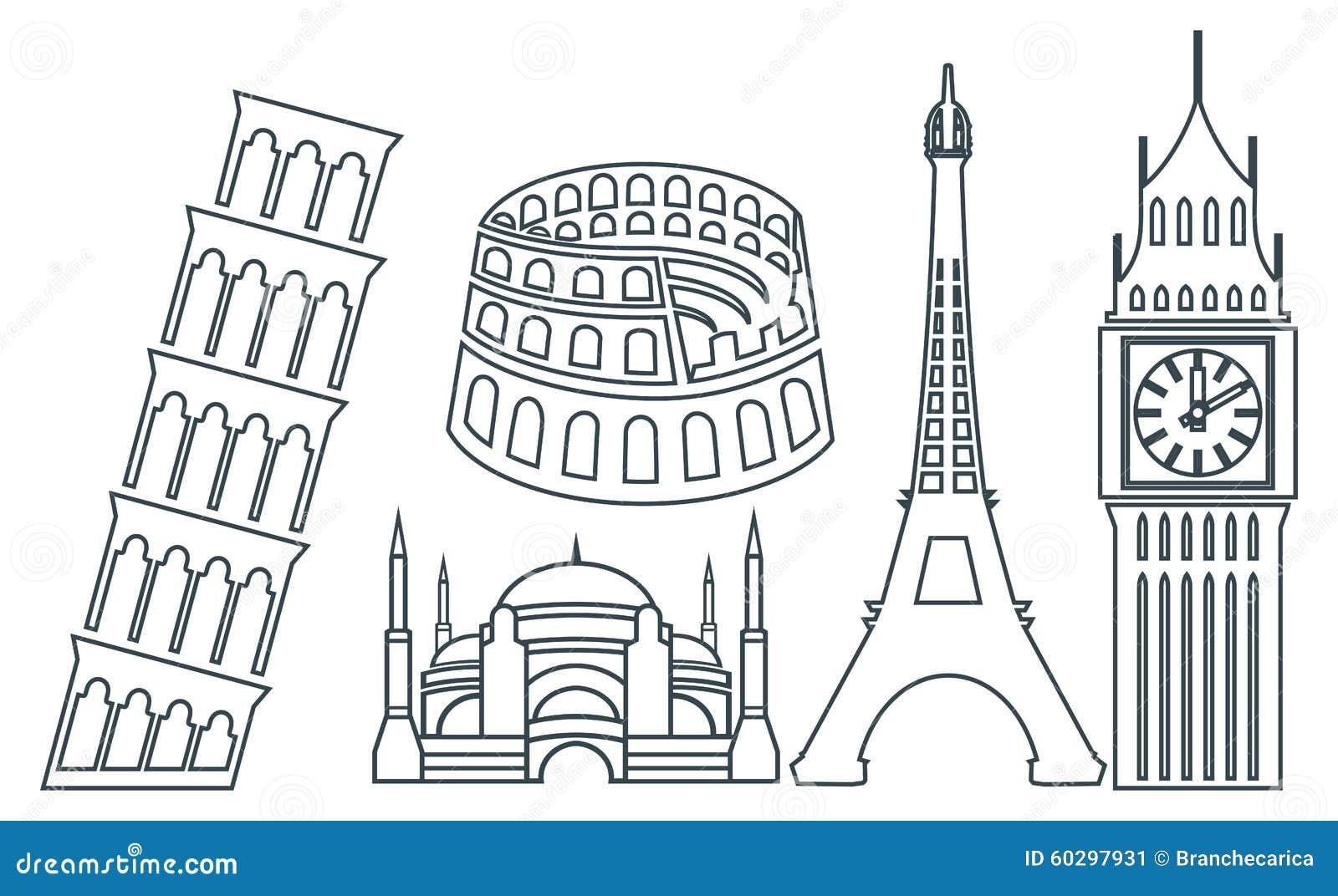 world famous buildings icons stock illustration image Colosseum Cartoon colosseum rome clipart