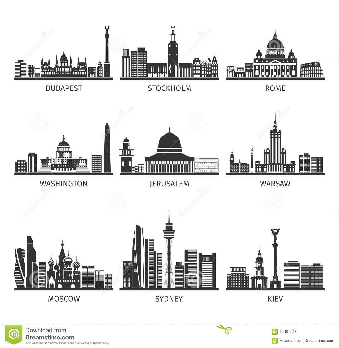 World Famous Cityscapes Black Icons Set Stock Vector