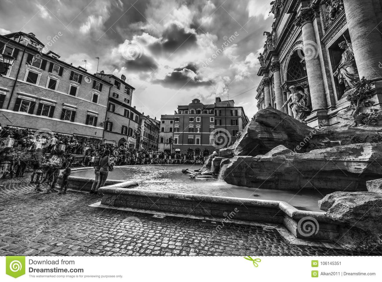 World famous fontana di trevi in rome in black and white