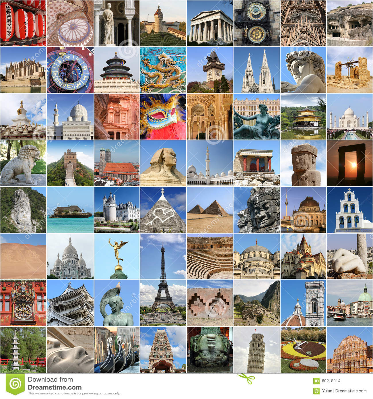 World Famous Landmark Collage With Many Popular Traveling Destinations