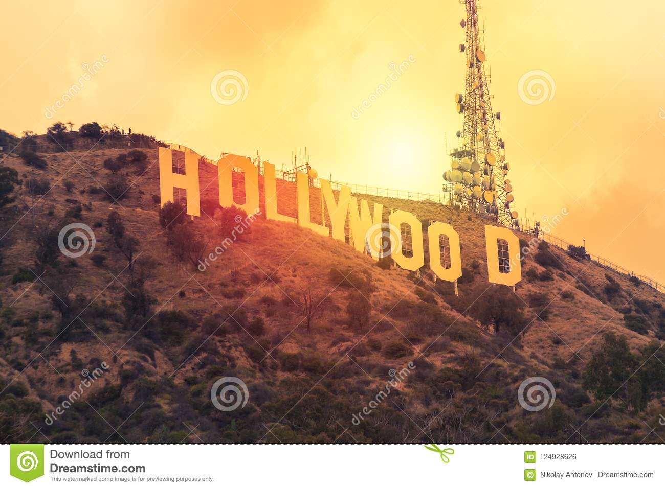 The world famous landmark Hollywood Sign during sunset in Los Angeles, United States.