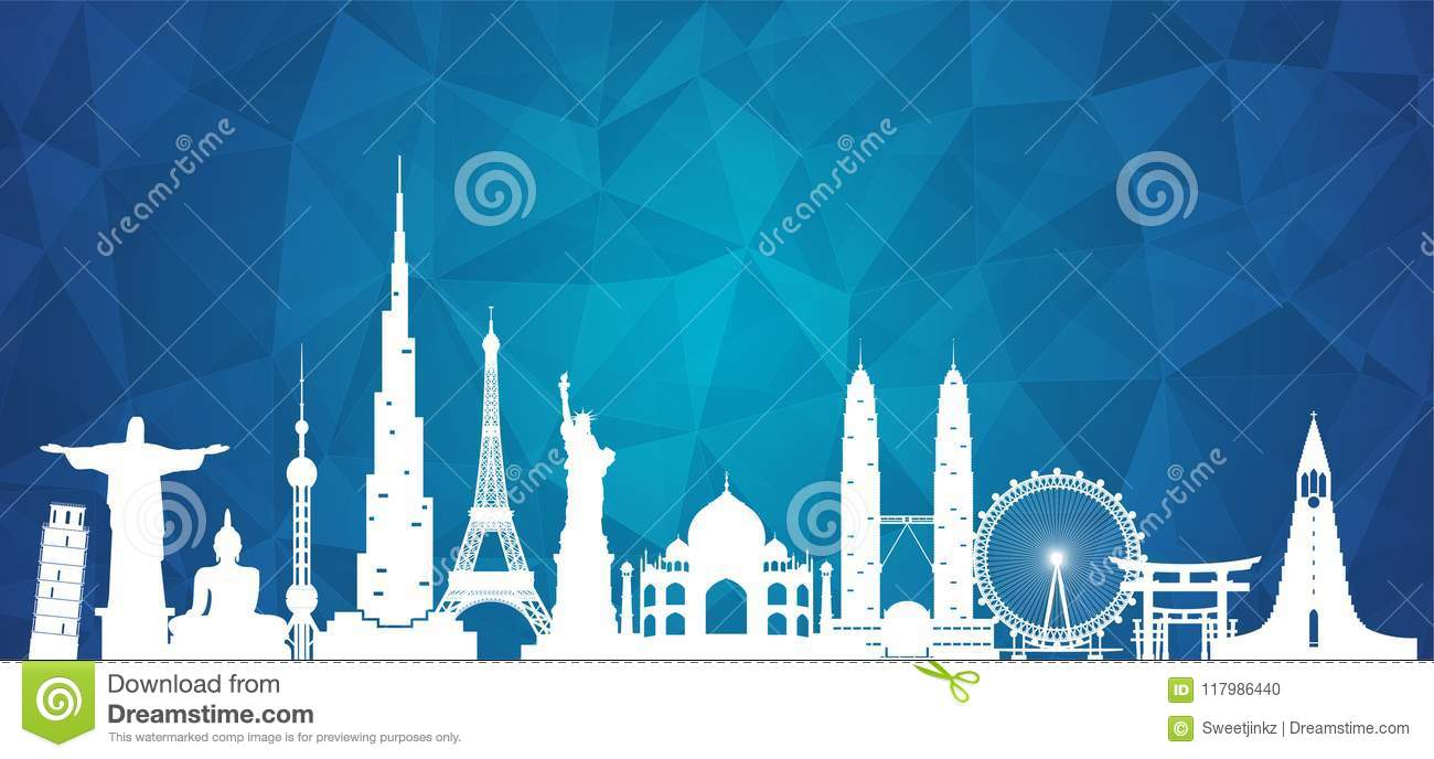 World famous Landmark paper art. Global Travel And Journey Infographic . Vector Flat Design Template.vector/illustration.Can be u