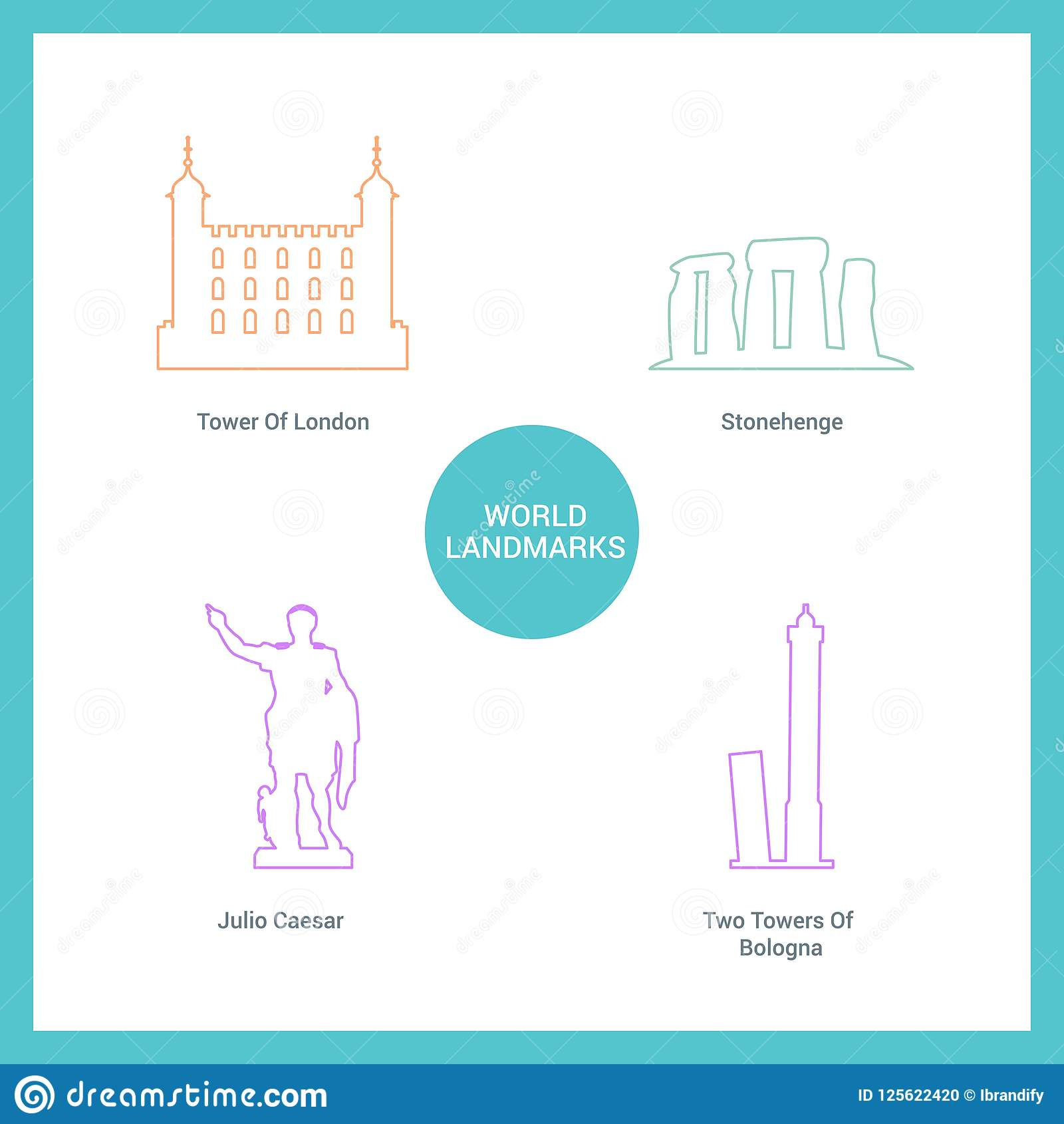 World Famous landmarks and monuments design with white background vector