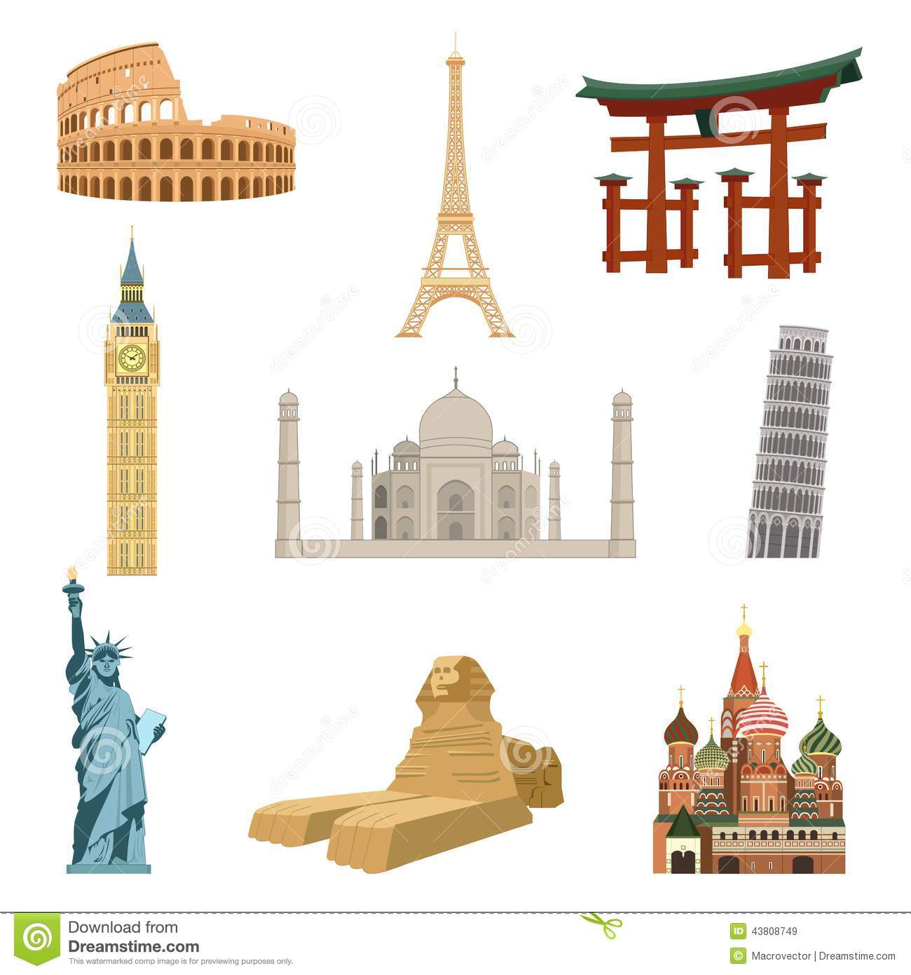 World famous landmarks stock vector illustration of city for Famous building blueprints