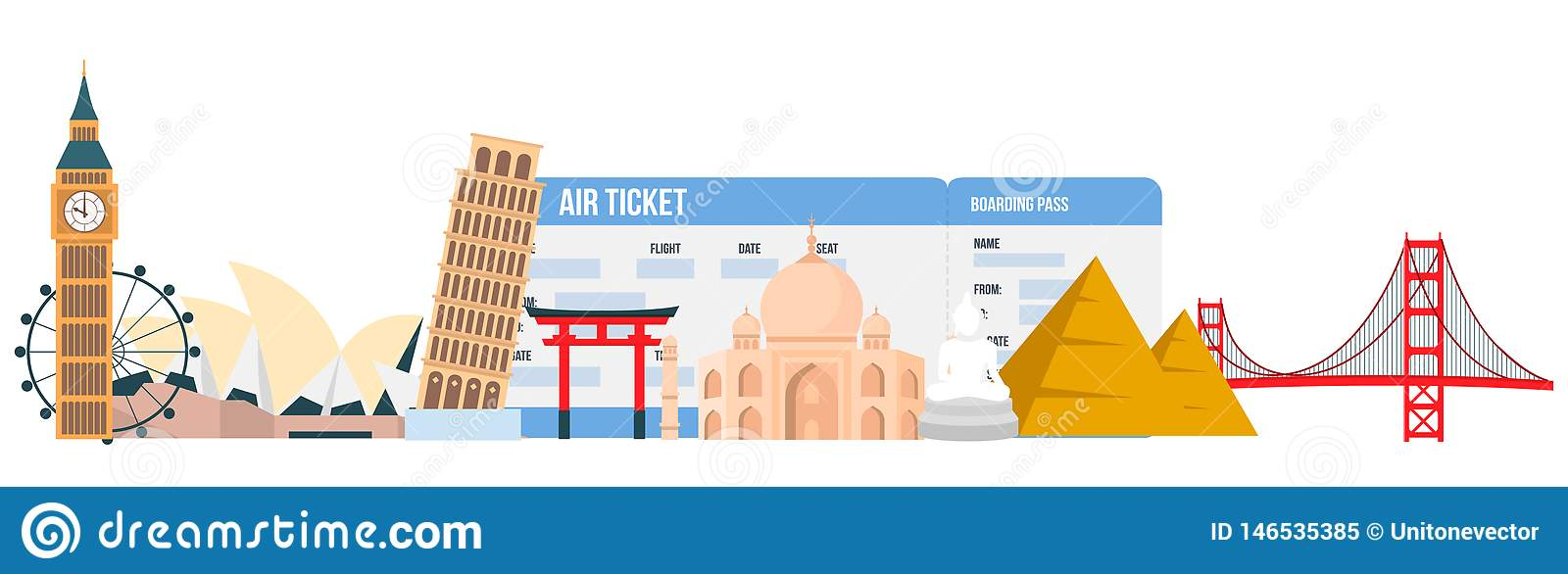 World Famous Landmarks Vector Design Elements