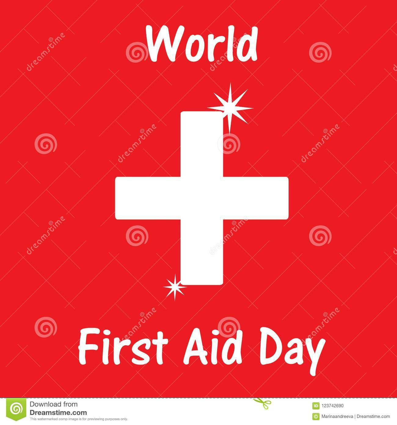 World First Aid Day With Design Illustration Greating Card Stock
