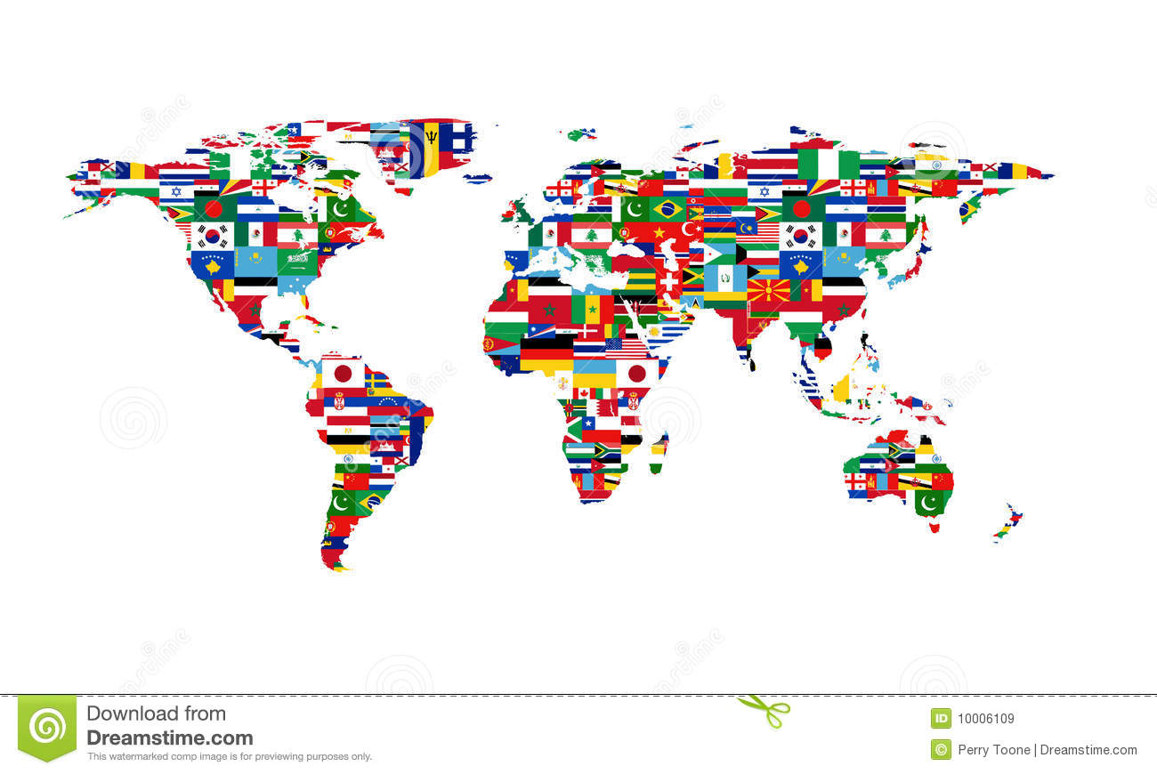 World map colored in countries flags names stock illustration world flag map royalty free stock images gumiabroncs Gallery