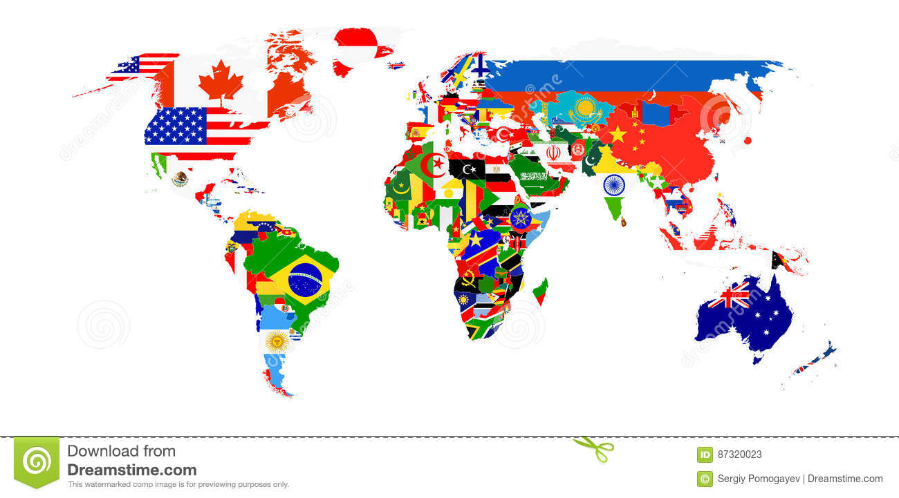 Labeled Globe Map.World Flag Map Isolated On White Stock Vector Illustration Of