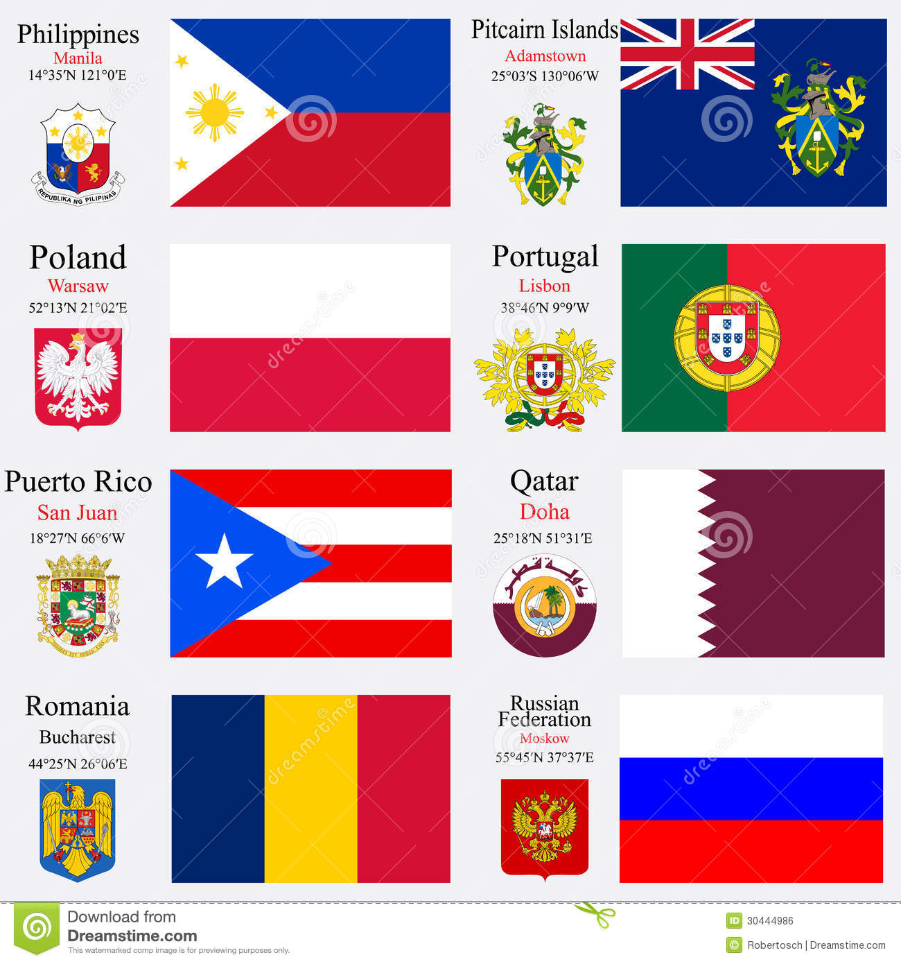 flags of Philippines, Pitcairn Islands, Poland, Portugal, Puerto Rico ...