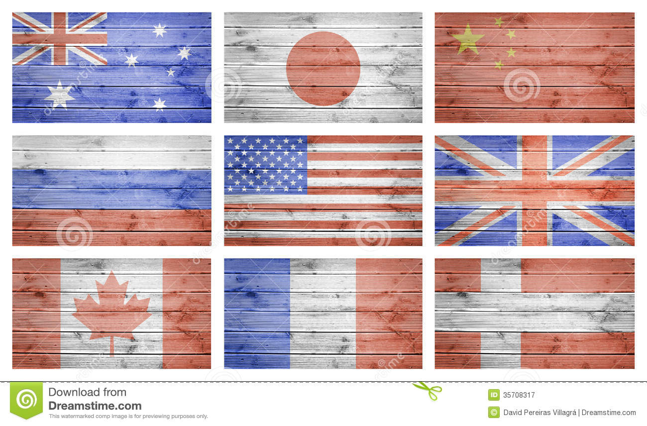 World flags collage over wood planks texture