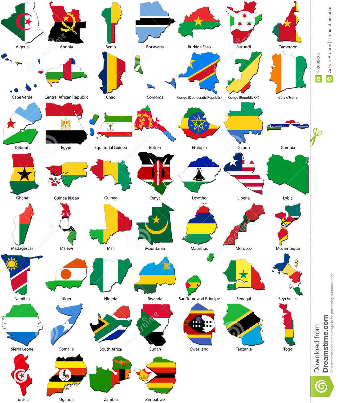 world flags country border african set stock illustration