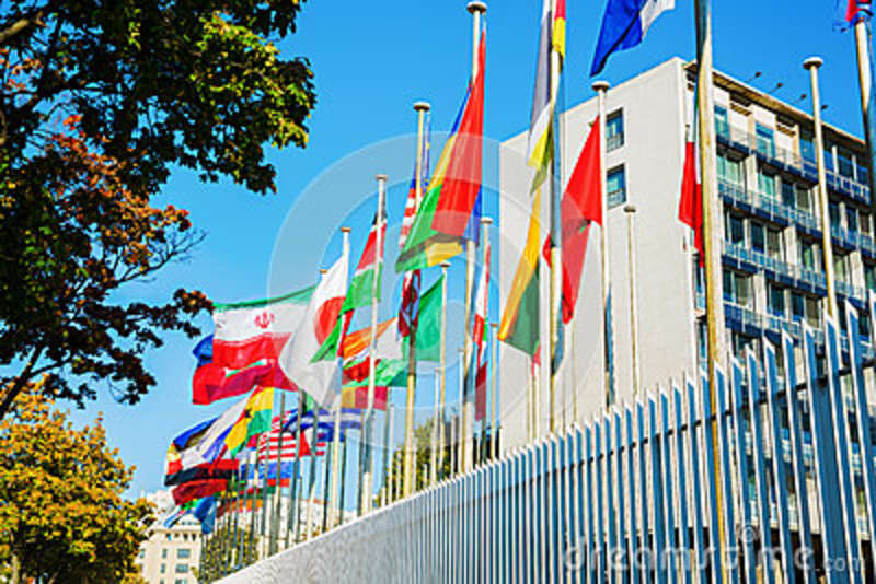 World Flags In Front Of UNESCO In Paris Editorial