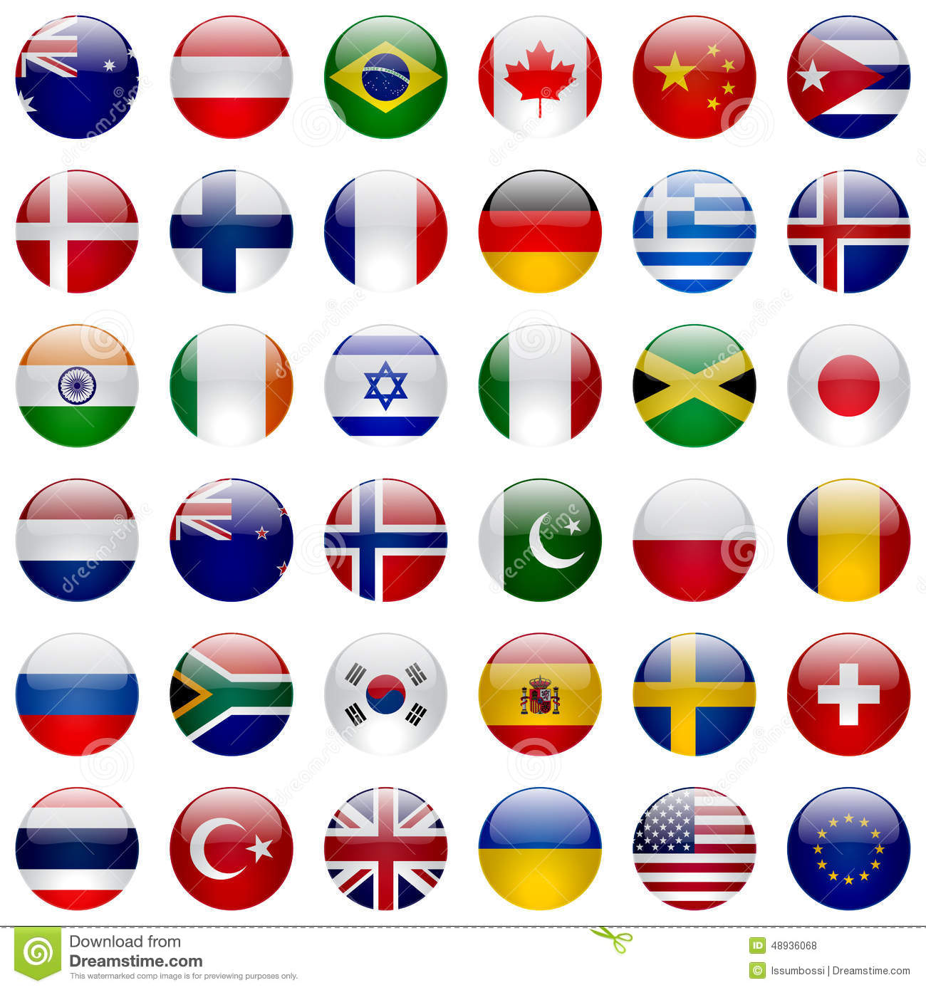 world flags icon set stock vector